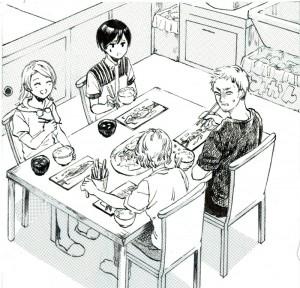 テーブルを囲む人々